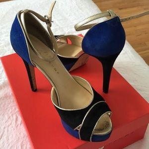 Ivanka Trump Peep Toe Suede Blue Heels Ankle Strap